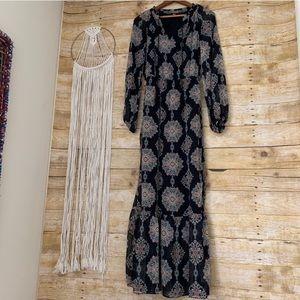 Cute Mossimo Long Sleeve Maxi Dress Ruffle Hem XS!